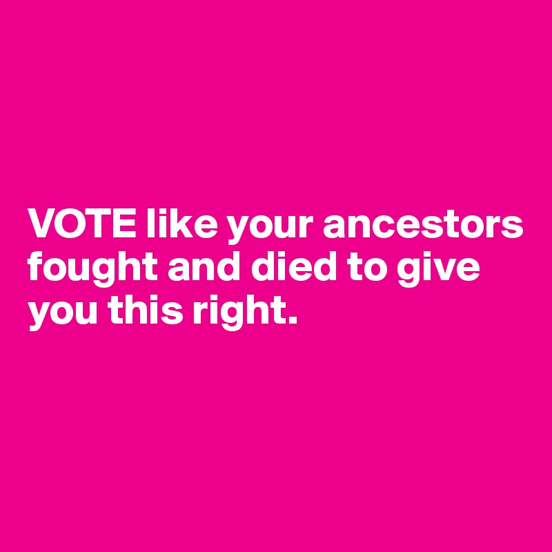 VOTE like your ancestors fought and died to give you this right.