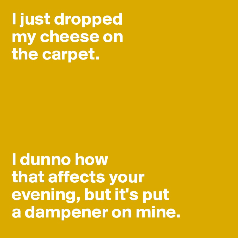 I just dropped  my cheese on  the carpet.       I dunno how  that affects your  evening, but it's put  a dampener on mine.