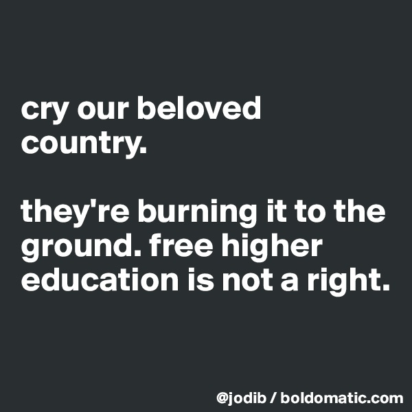 cry our beloved country.  they're burning it to the ground. free higher education is not a right.