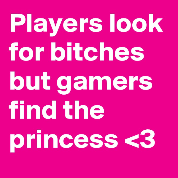 Players look for bitches but gamers find the princess <3