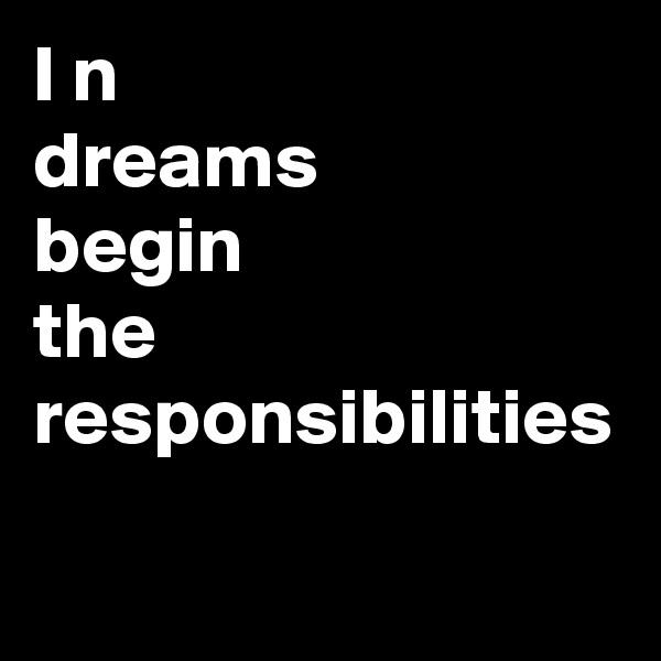 in dreams begin responsibilities