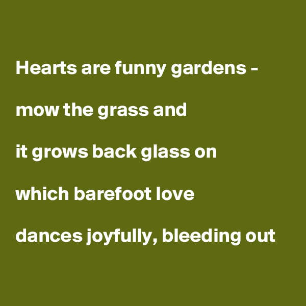 Hearts are funny gardens -  mow the grass and  it grows back glass on  which barefoot love   dances joyfully, bleeding out