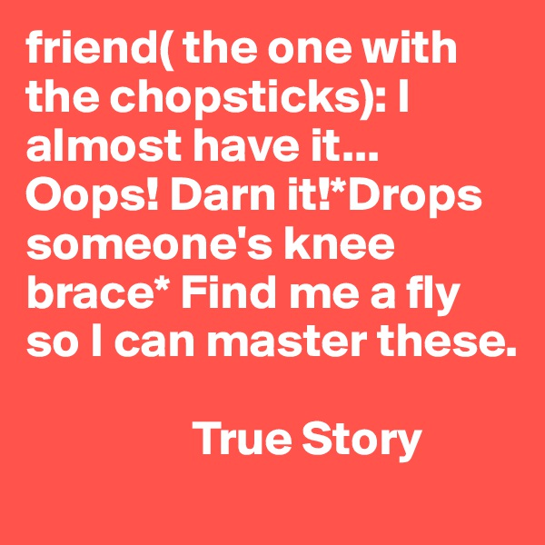 friend( the one with the chopsticks): I almost have it... Oops! Darn it!*Drops someone's knee brace* Find me a fly so I can master these.                            True Story