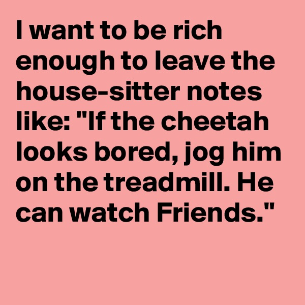 """I want to be rich enough to leave the house-sitter notes like: """"If the cheetah looks bored, jog him on the treadmill. He can watch Friends."""""""