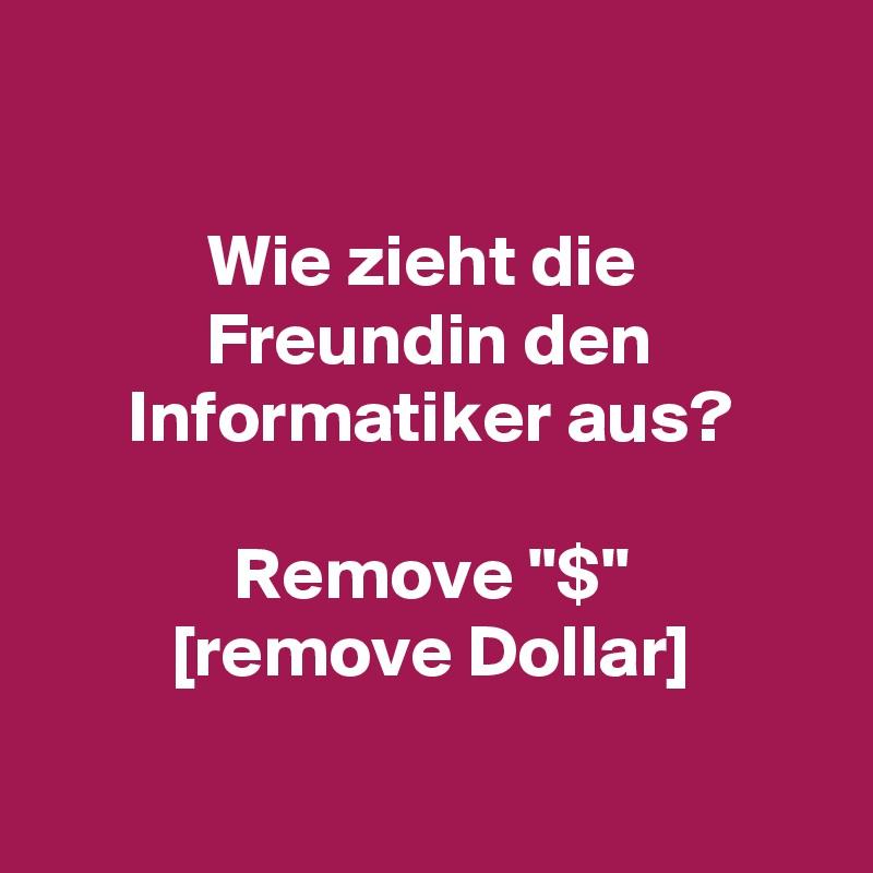 """Wie zieht die  Freundin den Informatiker aus?  Remove """"$"""" [remove Dollar]"""
