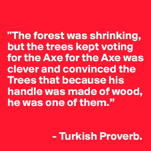 """""""The forest was shrinking, but the trees kept voting for the Axe for the Axe was clever and convinced the Trees that because his handle was made of wood, he was one of them.""""                        - Turkish Proverb."""