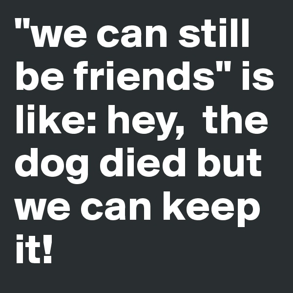 """""""we can still be friends"""" is like: hey,  the dog died but we can keep it!"""