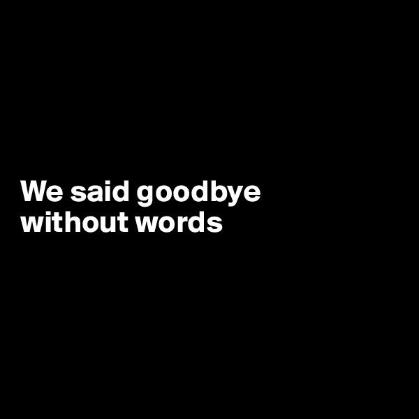 We said goodbye  without words