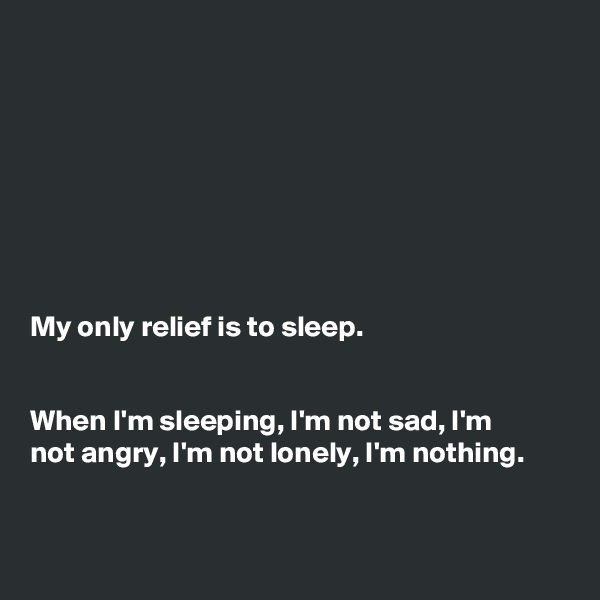 My only relief is to sleep.    When I'm sleeping, I'm not sad, I'm  not angry, I'm not lonely, I'm nothing.