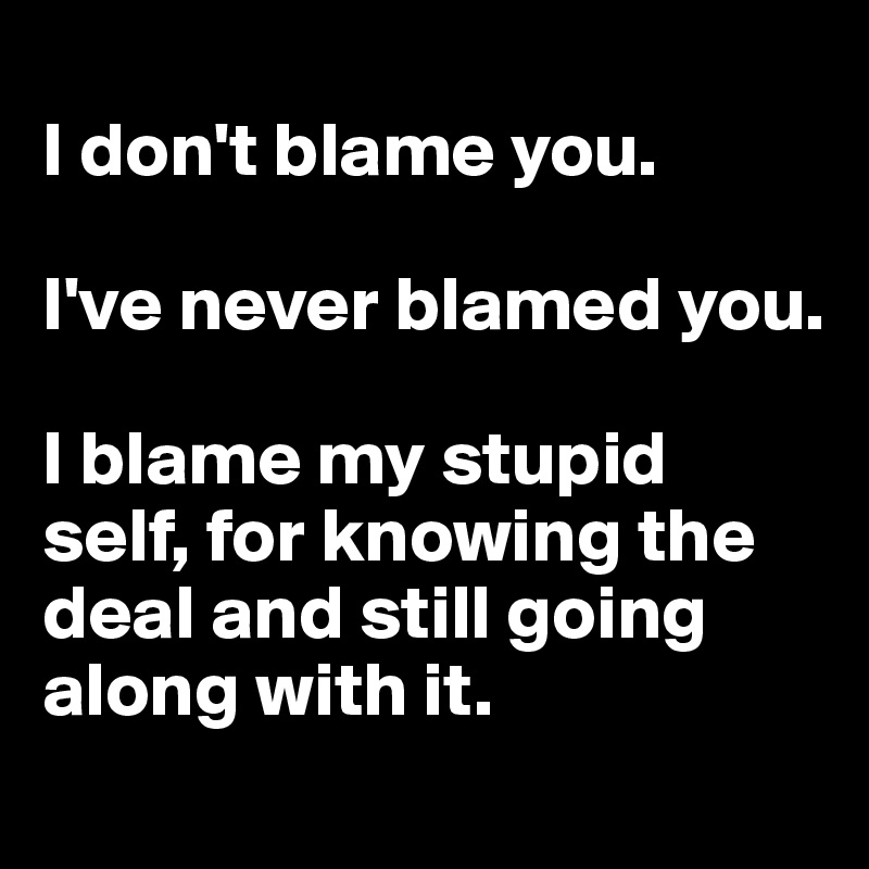 I don't blame you.   I've never blamed you.   I blame my stupid self, for knowing the deal and still going along with it.