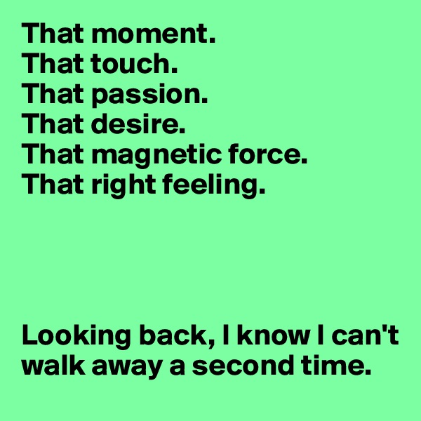 That moment. That touch. That passion. That desire. That magnetic force.  That right feeling.      Looking back, I know I can't walk away a second time.