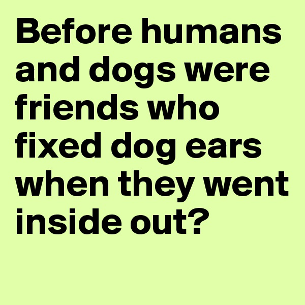 Before humans and dogs were friends who fixed dog ears when they went inside out?