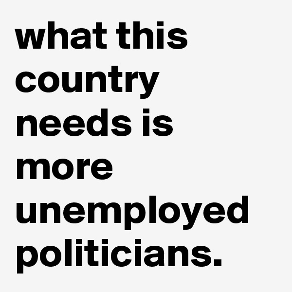 what this country needs is more unemployed politicians.