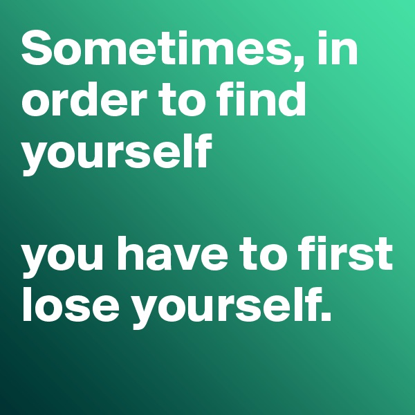 Sometimes, in order to find yourself  you have to first lose yourself.