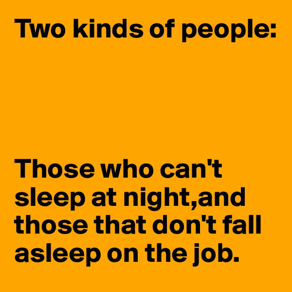 Two kinds of people:     Those who can't sleep at night,and those that don't fall asleep on the job.