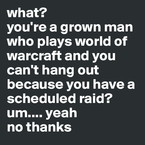 what?  you're a grown man who plays world of warcraft and you can't hang out because you have a scheduled raid? um.... yeah no thanks