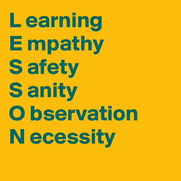 L earning E mpathy S afety S anity O bservation N ecessity
