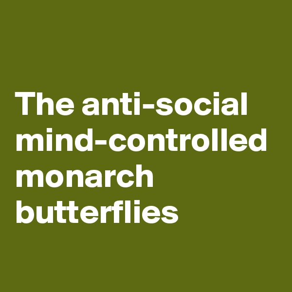 The anti-social mind-controlled monarch butterflies