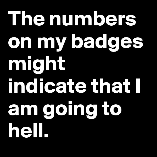 The numbers on my badges might indicate that I am going to hell.