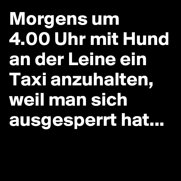 Morgens um  4.00 Uhr mit Hund an der Leine ein Taxi anzuhalten, weil man sich ausgesperrt hat...