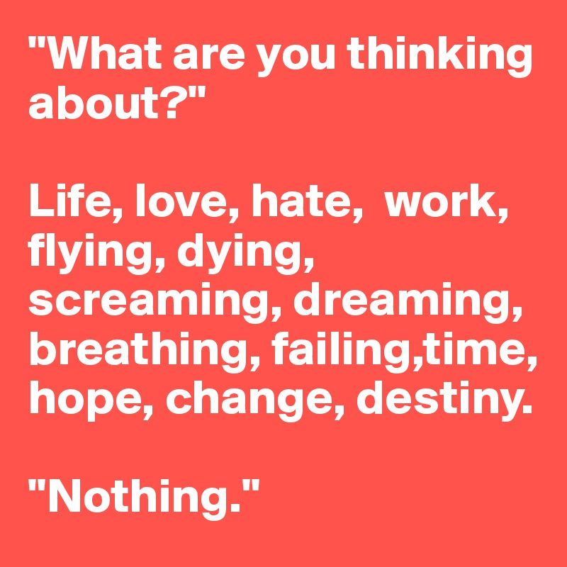 """""""What are you thinking about?""""  Life, love, hate,  work, flying, dying, screaming, dreaming, breathing, failing,time, hope, change, destiny.  """"Nothing."""""""