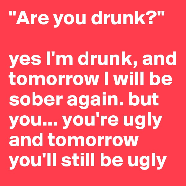 """Are you drunk?""  yes I'm drunk, and tomorrow I will be sober again. but you... you're ugly and tomorrow you'll still be ugly"