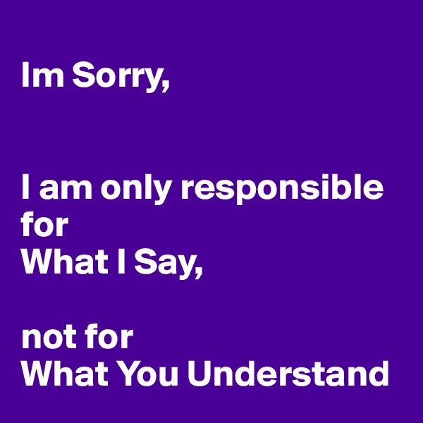 Im Sorry,   I am only responsible for  What I Say,  not for  What You Understand