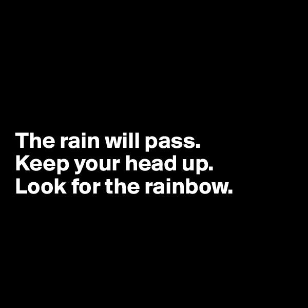The rain will pass. Keep your head up.  Look for the rainbow.