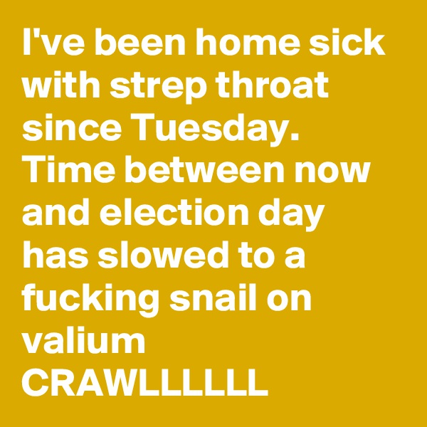 I've been home sick with strep throat since Tuesday. Time between now and election day has slowed to a fucking snail on valium CRAWLLLLLL