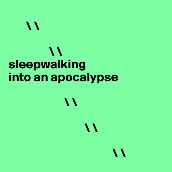 \ \                    \ \ sleepwalking  into an apocalypse                         \ \                                \ \                                                                    \ \