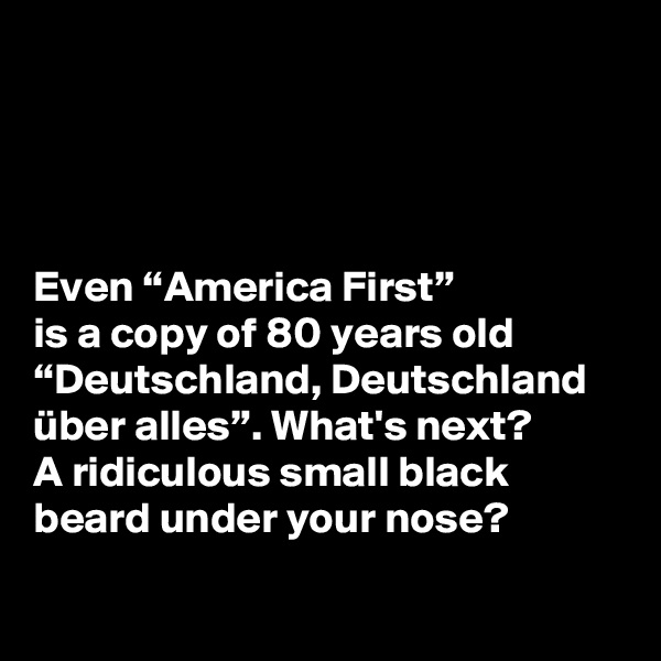 "Even ""America First""  is a copy of 80 years old ""Deutschland, Deutschland über alles"". What's next?  A ridiculous small black beard under your nose?"