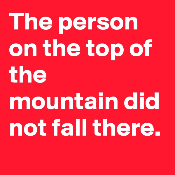 The person on the top of the mountain did not fall there.