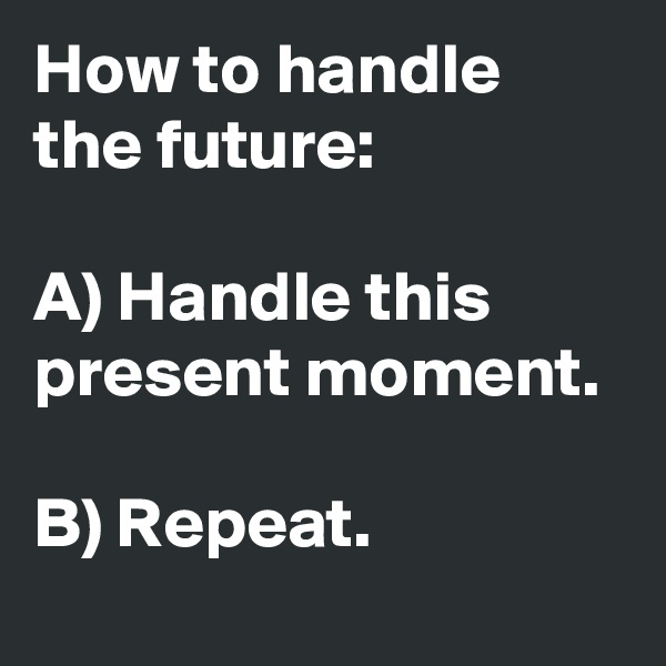 How to handle the future:  A) Handle this present moment.   B) Repeat.
