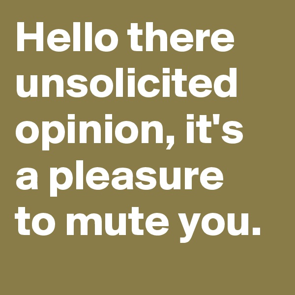 Hello there unsolicited opinion, it's a pleasure to mute you.