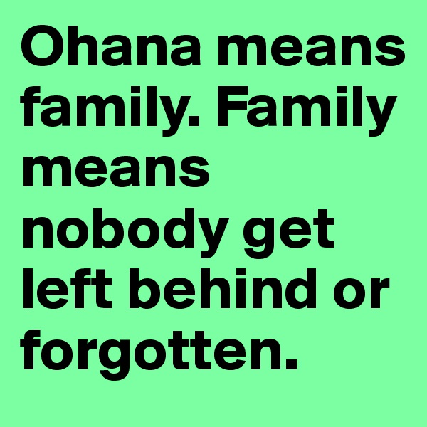 Ohana means family. Family means nobody get left behind or forgotten.