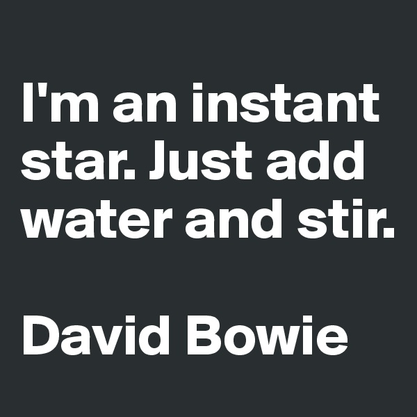 I'm an instant star. Just add water and stir.  David Bowie