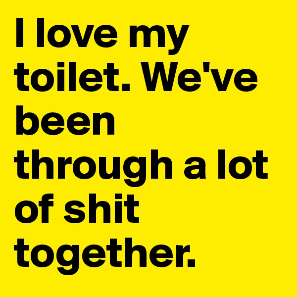 I love my toilet. We've been through a lot of shit together.