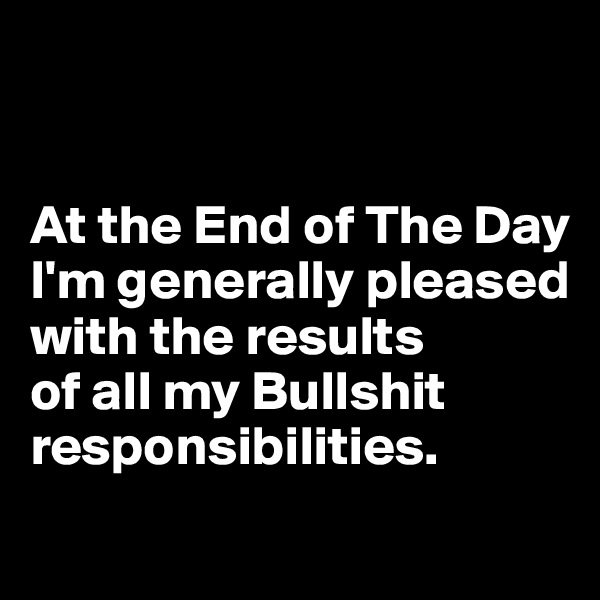 At the End of The Day I'm generally pleased with the results  of all my Bullshit responsibilities.