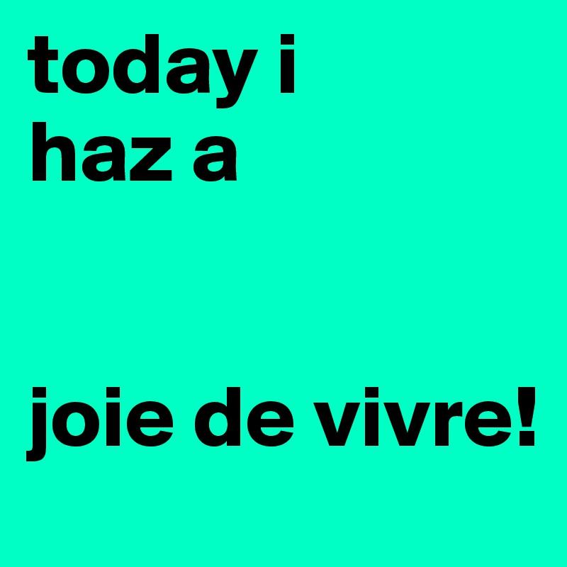 today i  haz a    joie de vivre!