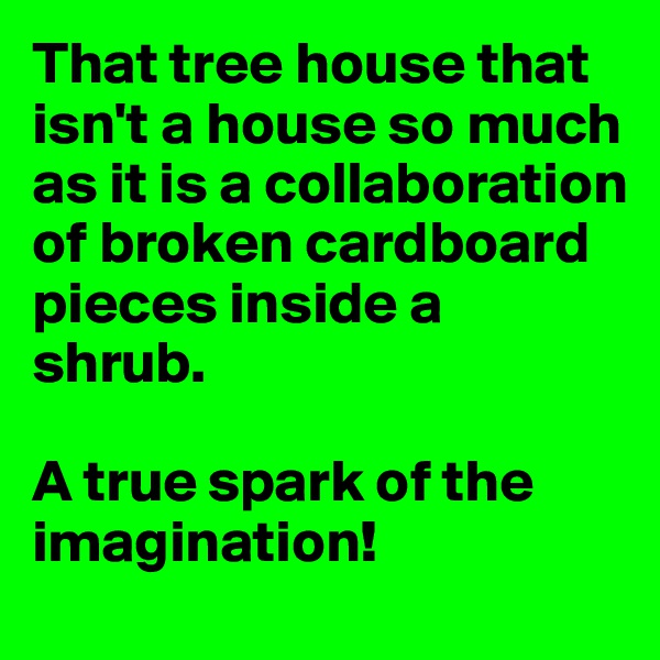 That tree house that isn't a house so much as it is a collaboration of broken cardboard pieces inside a shrub.  A true spark of the imagination!