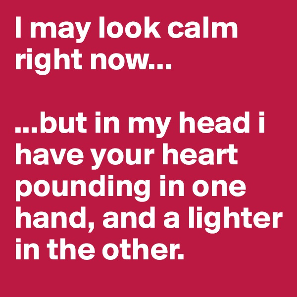 I may look calm right now...  ...but in my head i have your heart pounding in one hand, and a lighter in the other.