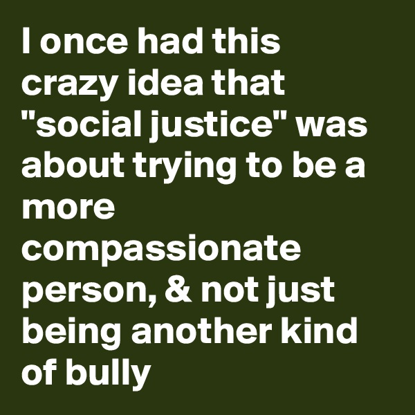 "I once had this crazy idea that ""social justice"" was about trying to be a more compassionate person, & not just being another kind of bully"