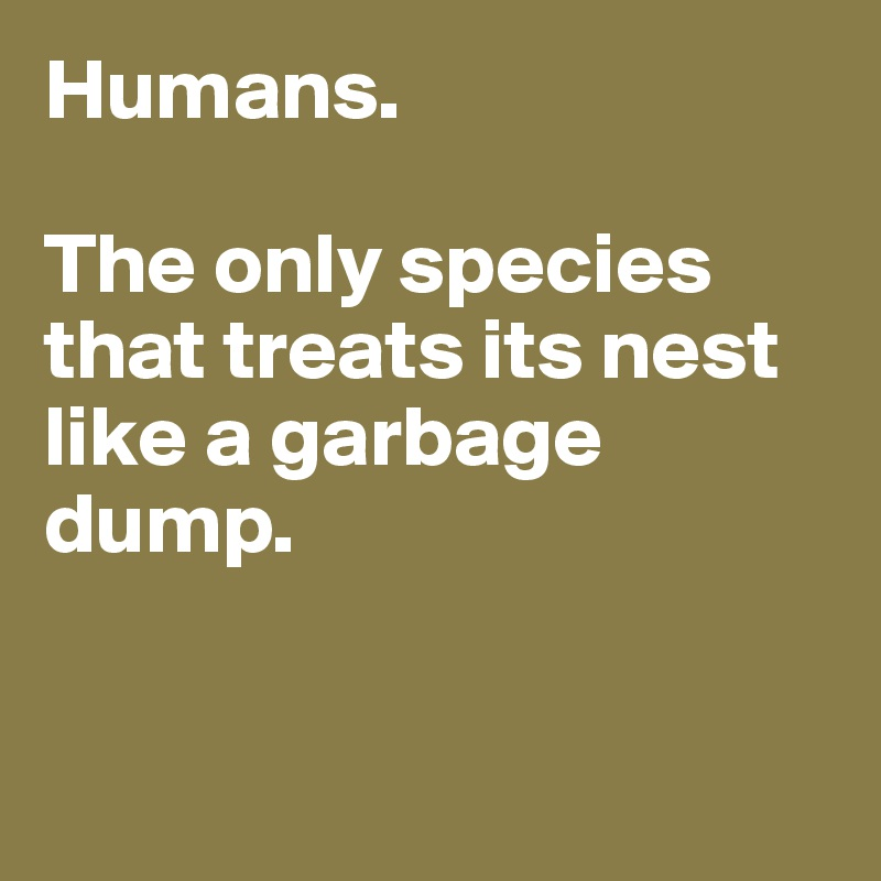 Humans.   The only species that treats its nest like a garbage dump.