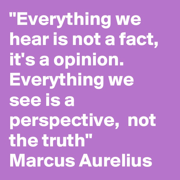 """Everything we hear is not a fact, it's a opinion. Everything we see is a perspective,  not the truth""  Marcus Aurelius"