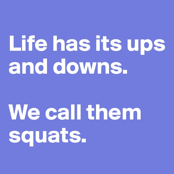 Life has its ups and downs.  We call them squats.