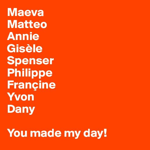 Maeva Matteo Annie Gisèle Spenser Philippe Françine Yvon Dany  You made my day!
