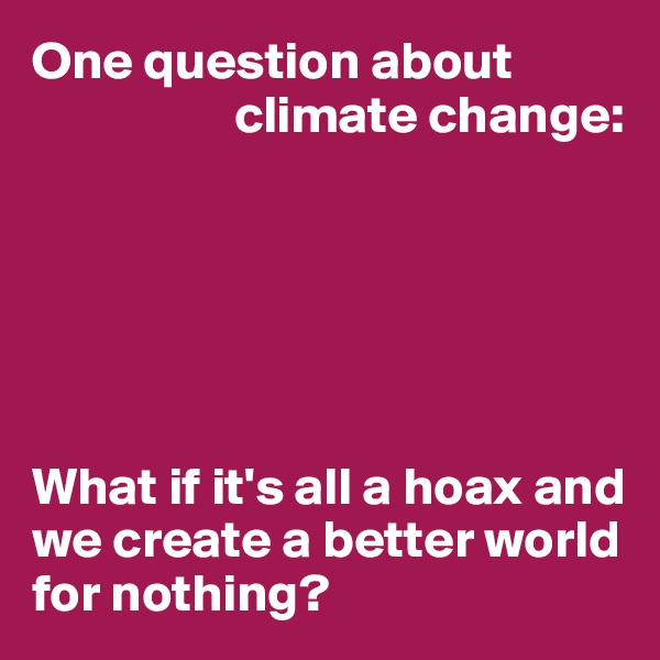 One question about                     climate change:       What if it's all a hoax and we create a better world for nothing?