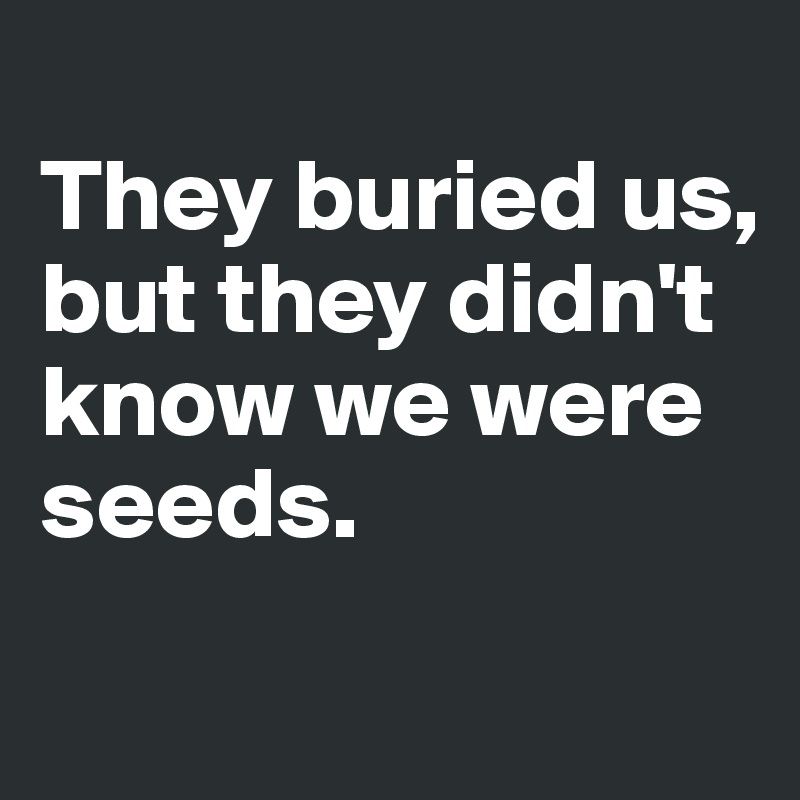 They buried us,  but they didn't know we were seeds.