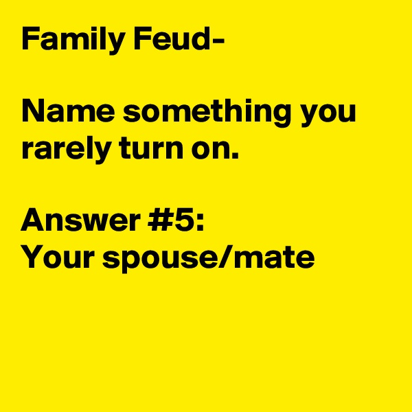 Family Feud-   Name something you rarely turn on.  Answer #5: Your spouse/mate