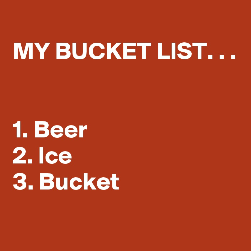 MY BUCKET LIST. . .   1. Beer 2. Ice 3. Bucket